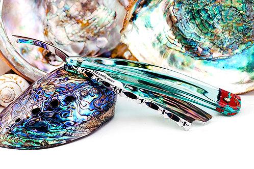 Max Sprecher Razors・8/8・Midi・Aqua Glass・Barber's Notch・Made in USA