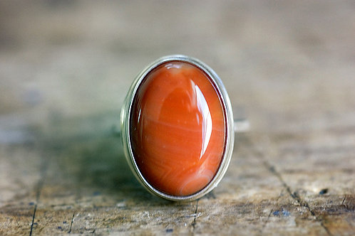 Max Sprecher Jewelry - Oval Fire Agate Silver Ring - Size 6 1/2