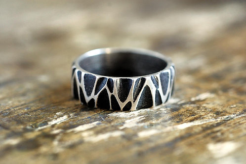 Max Sprecher Handmade Patterned Sterling Silver Ring Made in USA
