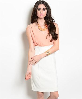 Cream Peach Dress