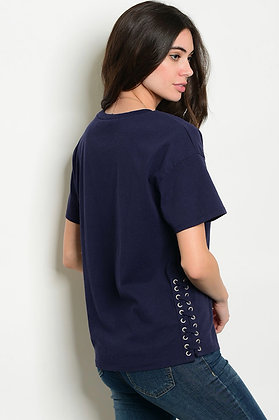 Navy Lace-Up Side Top