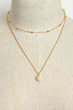 Hammered Coin Double-Chain Necklace