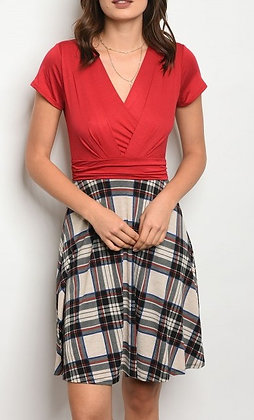 Red Taupe Plaid Dress