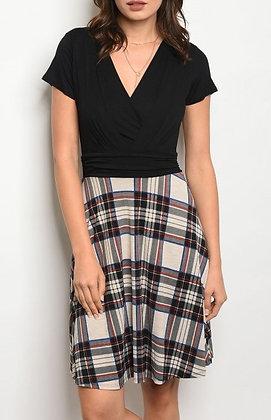Black Taupe Plaid Print Dress