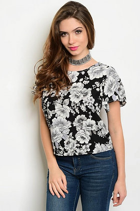 Black and Gray Floral Top