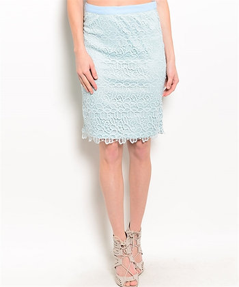 Ice Blue Crochet Skirt