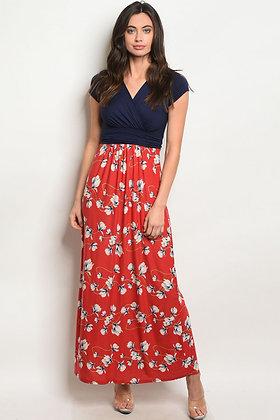 Navy Rust Floral Maxi Dress
