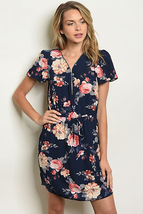 Navy Floral Tunic Dress