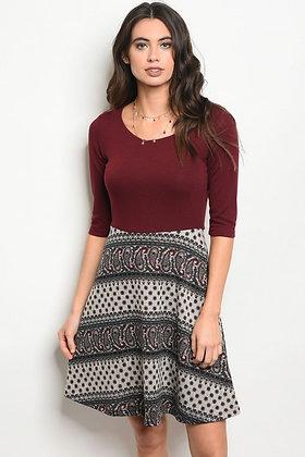 Burgundy Taupe Dress