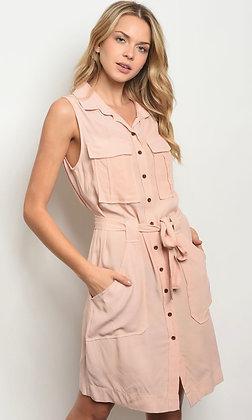 Blush Button-Down Dress
