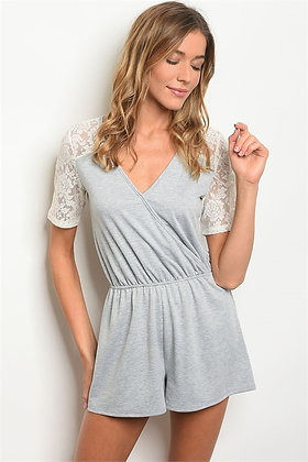 Gray and White Lace Romper