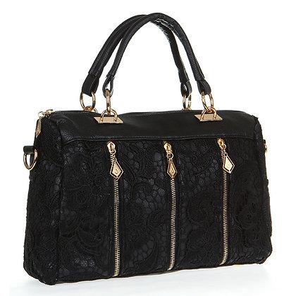 Bandolera Lace Handbag (Black)