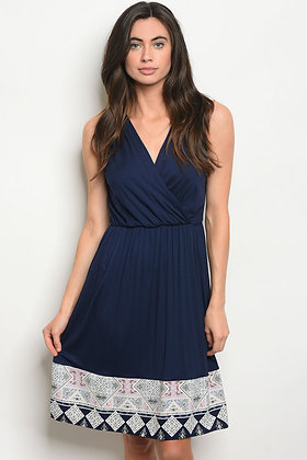 Navy Border-Print Dress
