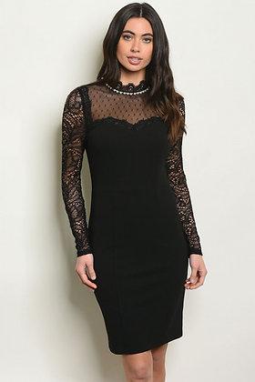 Black Longsleeve Lace Dress