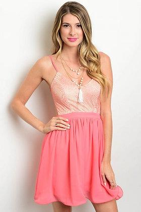 Coral Khaki Dress