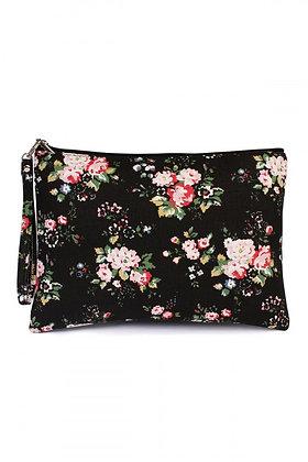 Black Floral Wristlet