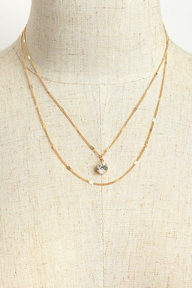 Stone Double Layer Chain Necklace