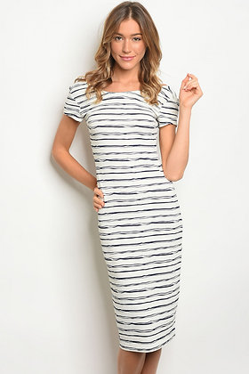 White and Navy Stripes Dress