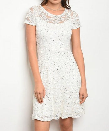 Off White Lace with Sequin Dress
