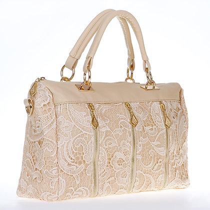 Bandolera Lace Handbag (Beige)