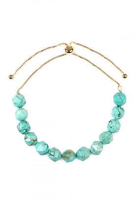 Turquoise Gem-Cut Stone Bracelet