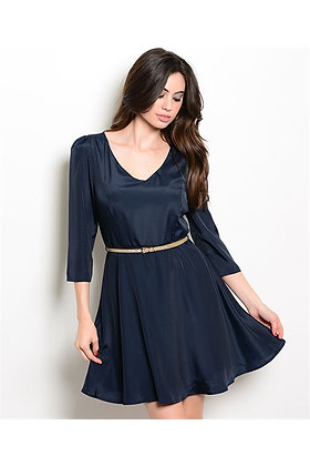 Navy Dress with Metallic Gold Belt