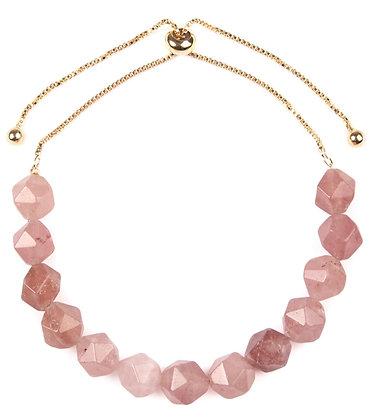 Pink Gem-Cut Stone Bracelet