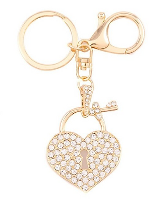 Gold Heart Lock Keychain