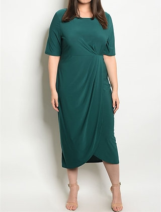 Solid Jade Draped Dress