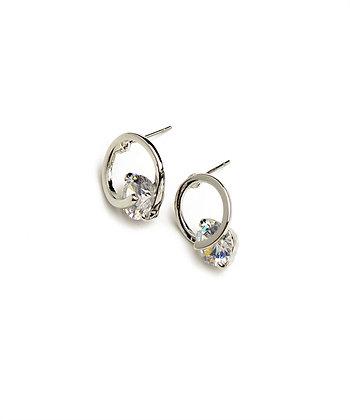 Rhodium Stone Earrings