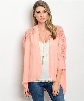 Peach Crochet Kimono