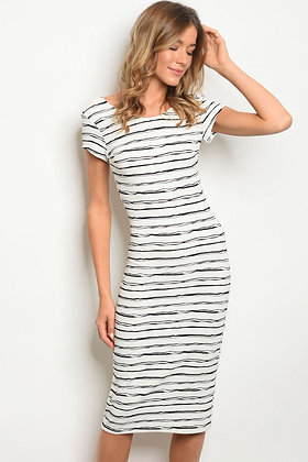 White and Black Stripes Dress