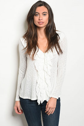 White Knit Ruffle Top