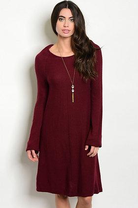 Wine Knit Dress