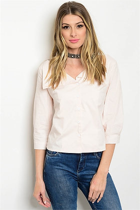 Light Pink Button-Up Top