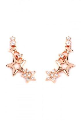 Rose Gold Stars Crawler Earrings