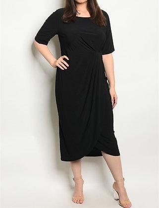 Solid Black Draped Dress