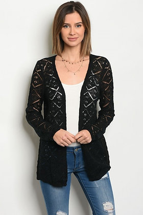 Black Knit Open Cardigan