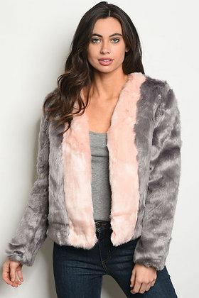 Gray Pink Faux Fur Jacket