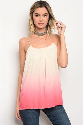 Cream Pink Tie Dye Top