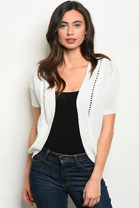 Short Sleeve White Cardigan