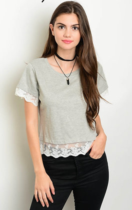 Gray White Lace Top
