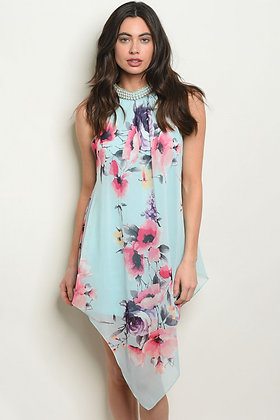 Mint with Pearl Floral Dress