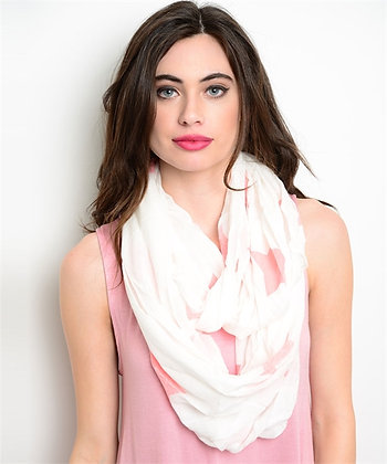 White with Orange Stars Infinity Scarf