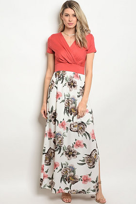Coral White Floral Dress