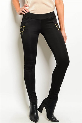 Chic Black Pants with Gold Zipper Detail