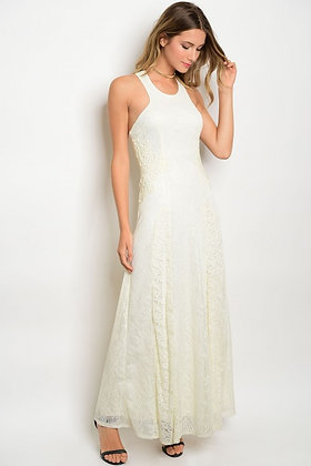 Ivory and Cream Lace Maxi Dress