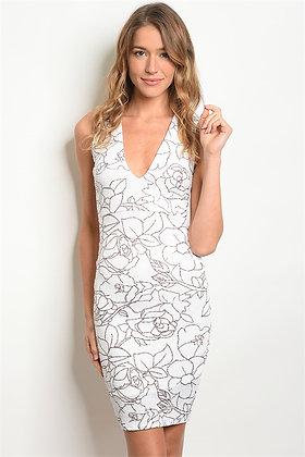White Burgundy-Shimmer Dress