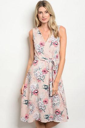 Blush Floral Wrap Dress