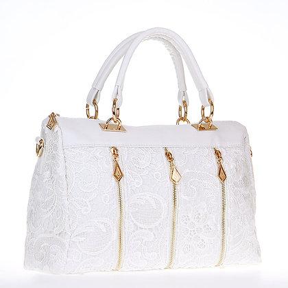 Bandolera Lace Handbag (White)